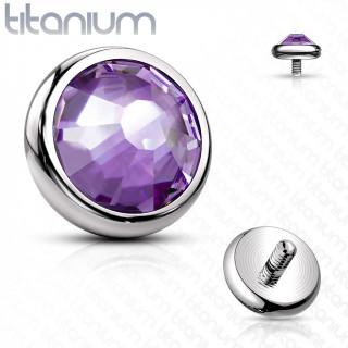 Embout disque piercing en Titane G23 à cristal Violet Tanzanite (pour tige filetage interne)
