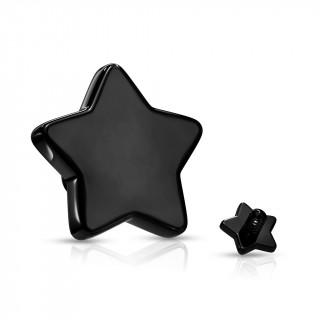 Embout étoile de piercing Noir en acier (pour tige filetage interne)