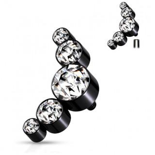 Embout piercing acier Noir à arc de 5 de cristaux (filetage interne)