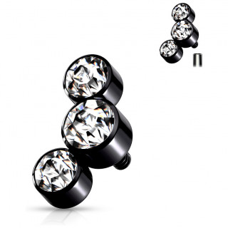 Embout piercing noir à trio de cristaux (filetage interne)