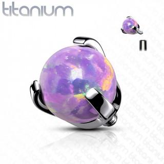 Embout piercing Titane G23 à perle d'Opale Violette (filetage interne)