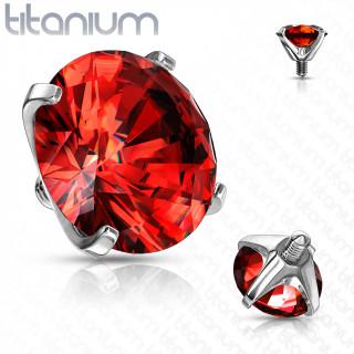 Embout piercing Titane G23 serti Zirconium Rouge (pour tige filetage interne)