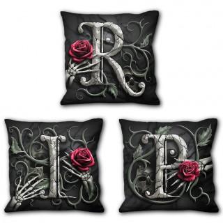 Ensemble de 3 coussins déco gothiques R.I.P. à squelettes et roses