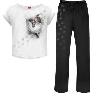 Ensemble pyjamas gothique femme 4 pièces à bébé chat