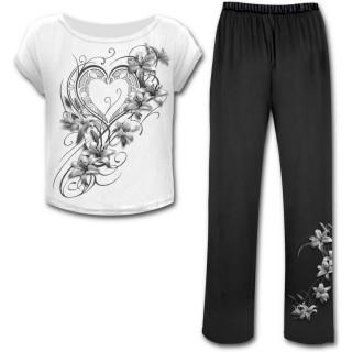 Ensemble pyjamas gothique femme 4 pièces fleurs du bien et du mal