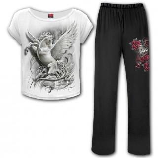 Ensemble pyjamas gothique femme 4 pièces à licorne et coeur cadenas