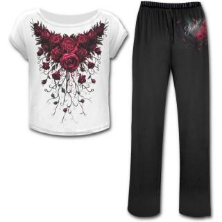 Ensemble pyjamas gothique 4 pièces à rose de sang et Catrina Calavera