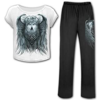Ensemble pyjamas gothique 4 pièces à esprit du loup