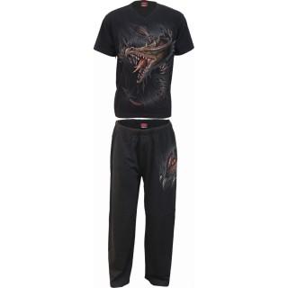Ensemble pyjamas homme 4 pièces à dragon déchirant le vêtement