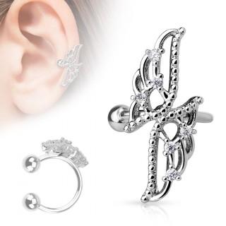 achat faux piercing cartilage oreille avec papillon abstrait pas cher. Black Bedroom Furniture Sets. Home Design Ideas