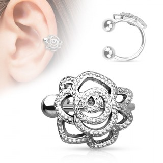 achat faux piercing cartilage oreille avec rose perl e pas cher. Black Bedroom Furniture Sets. Home Design Ideas
