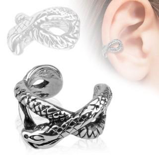 Faux piercing oreille à design serpent