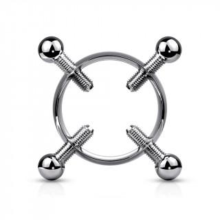 Faux piercing téton inox à vis de serrage