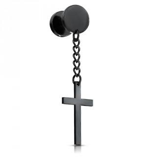 Faux plug PVD noir à pendentif croix