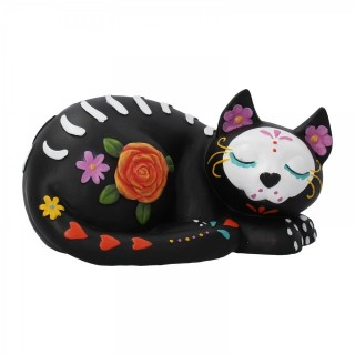 "Figurine chat endormi style ""Jour des morts"" (22cm)"