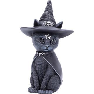 Figurine chat noir à chapeau de sorcier