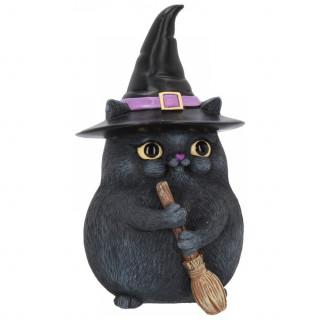 """Figurine chat noir sorcier """"Lucky Black Cat"""" - 12cm"""