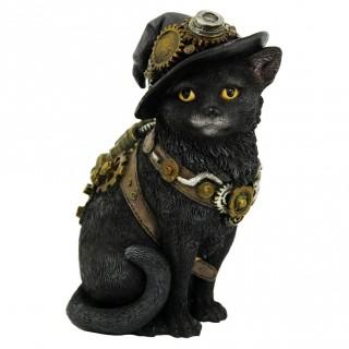 Figurine chatte steampunk à chapeau de sorcière