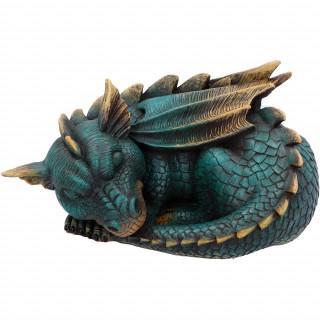 Figurine Dragon somnolent bleu et doré (22.8cm)