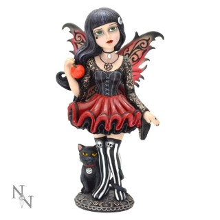 "Figurine fée gothique Little Shadows ""Hazel"" avec son chat noir - 16cm"