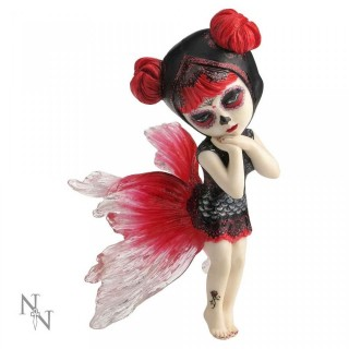 """Figurine fée gothique noire et rouge """"Koi Dancer"""" (15.5cm)"""