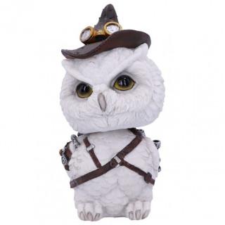 Figurine Hibou blanc steampunk à chapeau - 16cm
