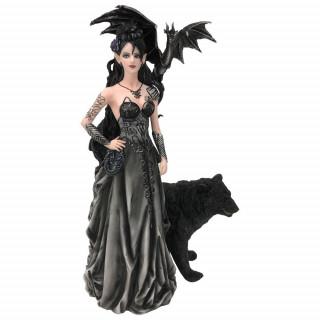 Figurine reine obscure à dragon et ours noirs (32.5 cm) - Nene Thomas