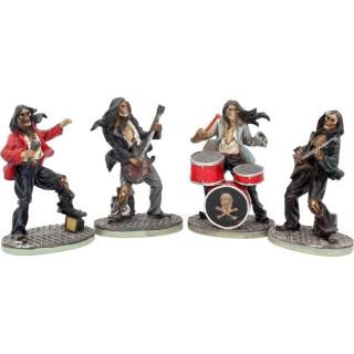 Figurines squelettes musiciens groupe de rock (lot de 4)
