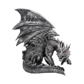 """Fiigurine dragon gris aux yeux rouges """"Obsidian"""" - Nemesis Now (25cm)"""