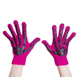 Gants femme gothiques roses à squelette noir - Poizen Industries