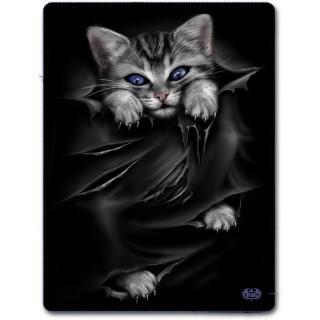Grande couverture en molleton avec chat gris à griffes sorties et déchirures