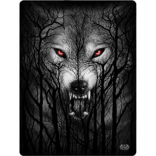 Grande couverture en molleton à loup hurlant dans les arbres et pleine lune (150x200cm)