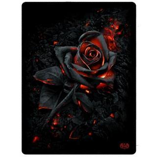 Grande couverture en molleton à rose noire incandescente (150x200cm)