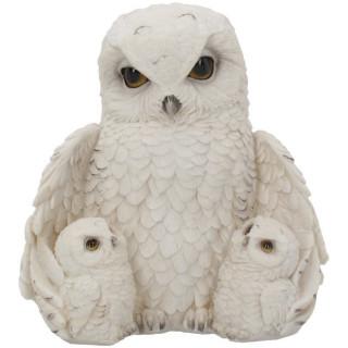Grande figurine déco chouette des neiges avec ses petits (21,5cm)