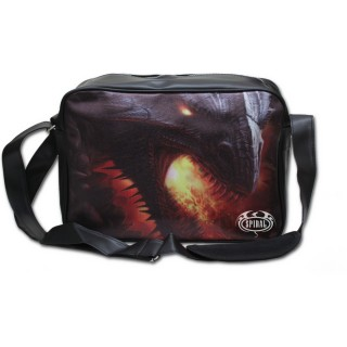 Grande sacoche noire en similicuir avec sombre dragon de feu