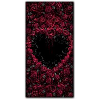 Grande serviette / drap de bain gothique à coeur de rose (140cm x 70cm)