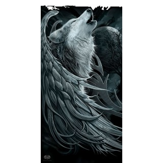 """Grande serviette """"Esprit du loup"""" avec loup à ailes d'ange"""