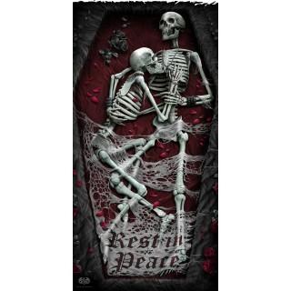 """Grande serviette """"REST IN PEACE"""" à couple squelettes"""