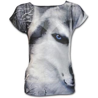 Haut ample à manches courtes pour femme avec loup blanc