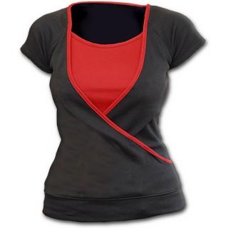 Haut croisé gris et rouge pour femme