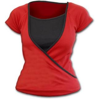 Haut croisé rouge et gris pour femme