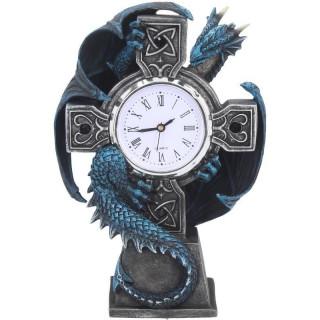 Horloge à croix noire et dragon bleu - Anne Stokes