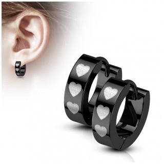 Boucles d'oreilles noires créoles en acier à coeurs argentés