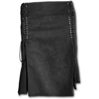 Jupe courte gothique noire rivetée à lacets