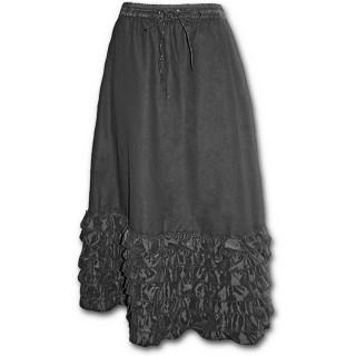 Jupe longue gothique à froufrous style satin