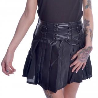Jupe noire rivetée à lacets SIIRI SKIRT - Chemical Black