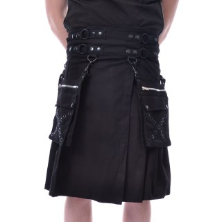 Kilt homme gothique noir CATO - Poizen Industries