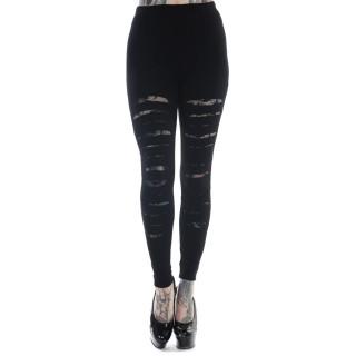 Leggings goth-rock Banned noir à jambes lacérées