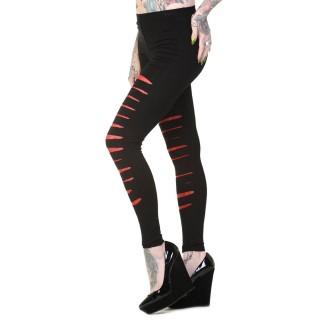 Leggings goth-rock Banned noir et rouge à jambes lacérées