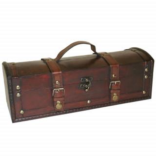 Long coffre en bois marron à sangles (35x12cm)
